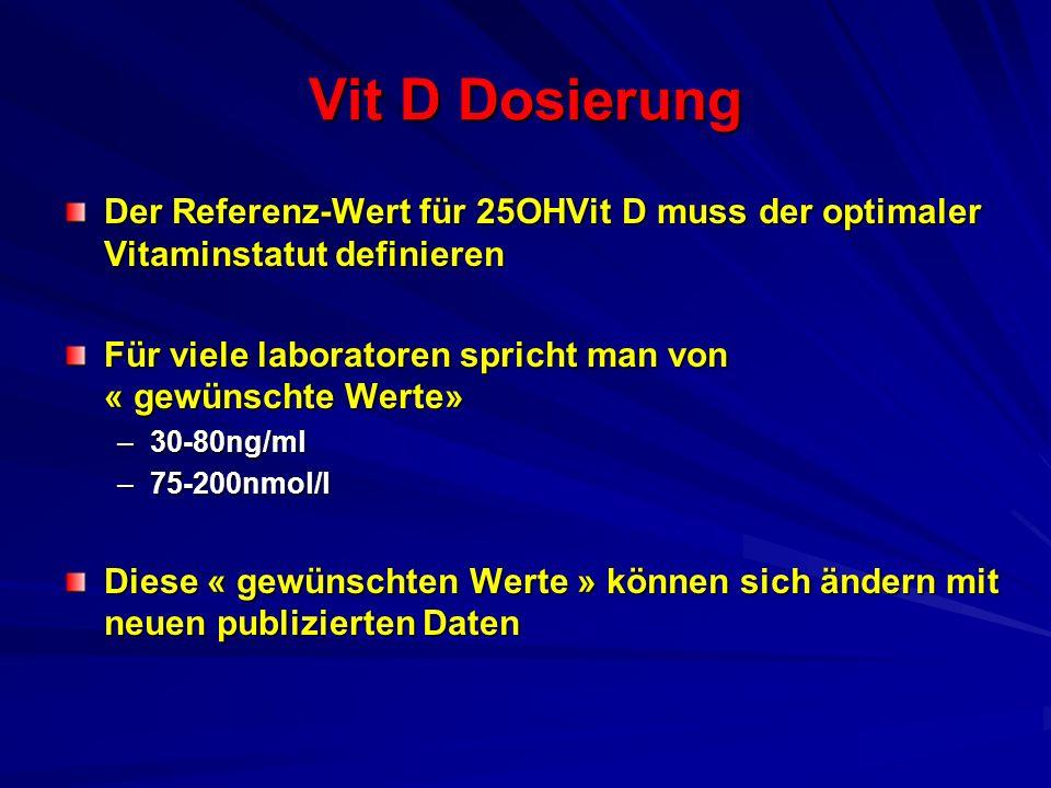 Vit D Dosierung Der Referenz-Wert für 25OHVit D muss der optimaler Vitaminstatut definieren Für viele laboratoren spricht man von « gewünschte Werte»