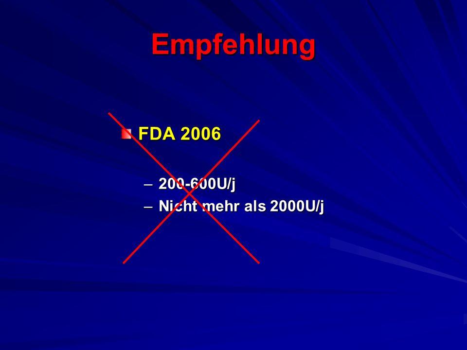 Empfehlung FDA 2006 –200-600U/j –Nicht mehr als 2000U/j