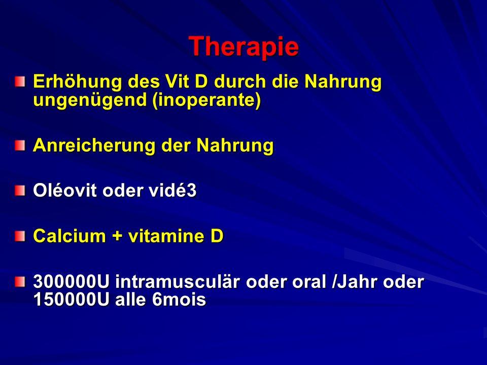 Therapie Erhöhung des Vit D durch die Nahrung ungenügend (inoperante) Anreicherung der Nahrung Oléovit oder vidé3 Calcium + vitamine D 300000U intramu