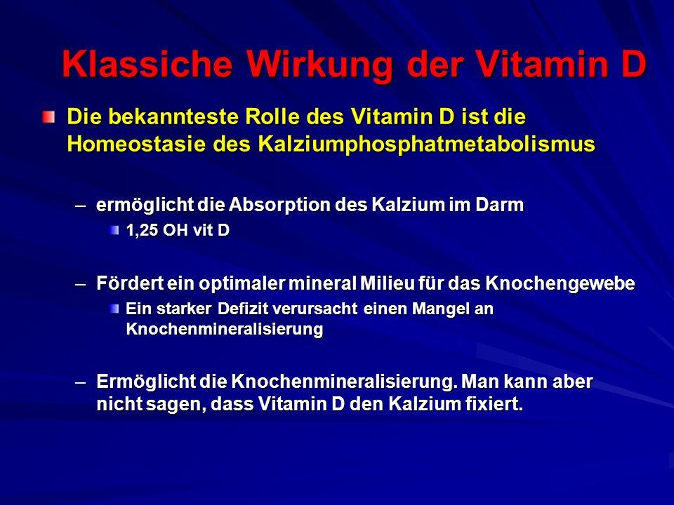 Klassiche Wirkung der Vitamin D Die bekannteste Rolle des Vitamin D ist die Homeostasie des Kalziumphosphatmetabolismus –ermöglicht die Absorption des