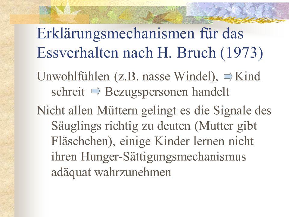 Erklärungsmechanismen für das Essverhalten nach H. Bruch (1973) Unwohlfühlen (z.B. nasse Windel), Kind schreit Bezugspersonen handelt Nicht allen Mütt