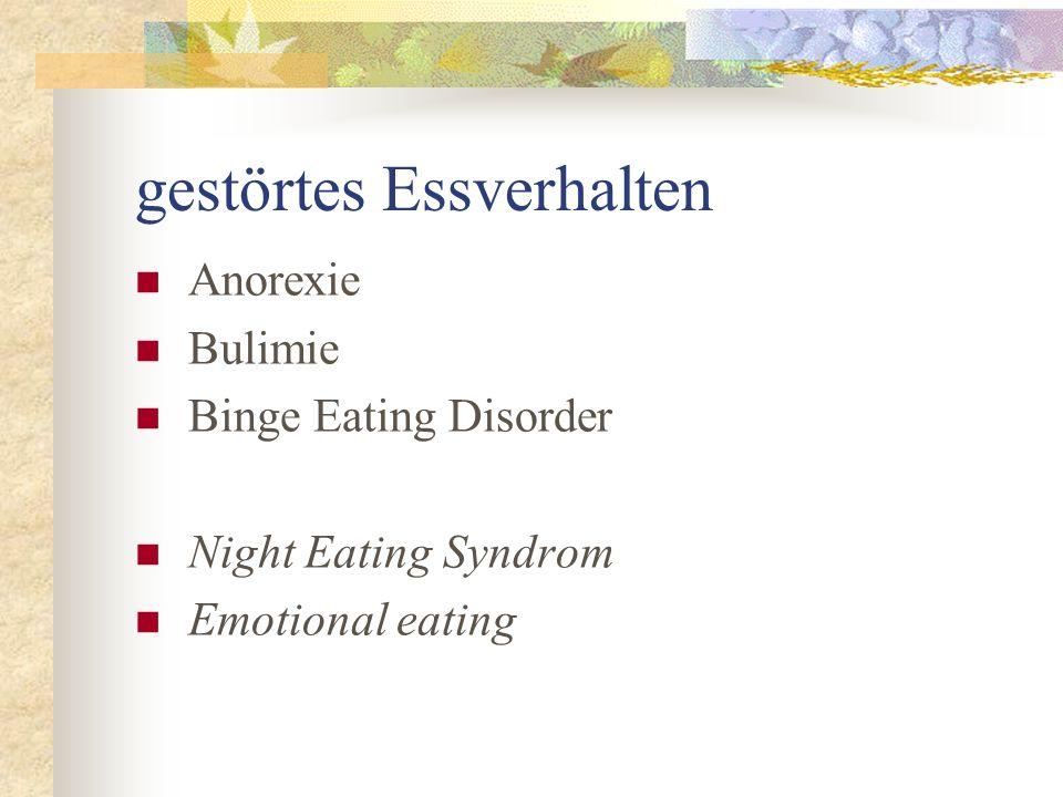 gestörtes Essverhalten Anorexie Bulimie Binge Eating Disorder Night Eating Syndrom Emotional eating
