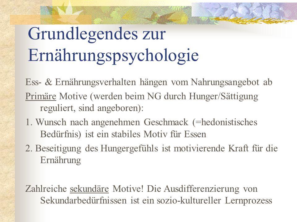 Grundlegendes zur Ernährungspsychologie Ess- & Ernährungsverhalten hängen vom Nahrungsangebot ab Primäre Motive (werden beim NG durch Hunger/Sättigung