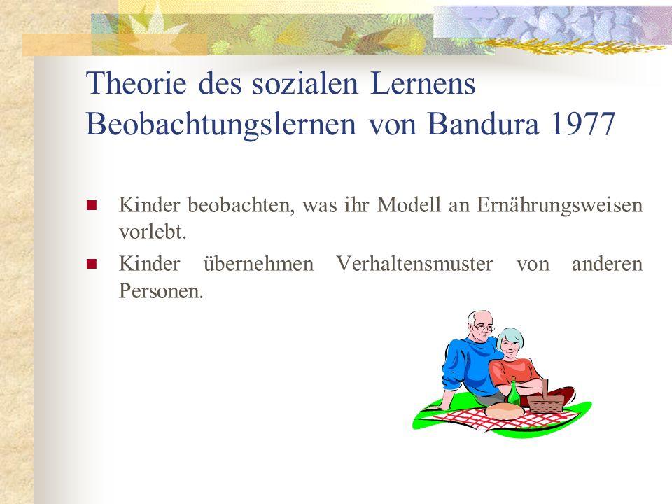 Theorie des sozialen Lernens Beobachtungslernen von Bandura 1977 Kinder beobachten, was ihr Modell an Ernährungsweisen vorlebt. Kinder übernehmen Verh