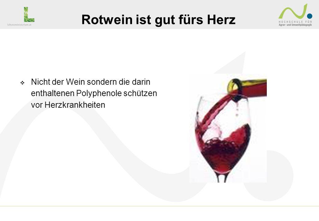 Nicht der Wein sondern die darin enthaltenen Polyphenole schützen vor Herzkrankheiten Rotwein ist gut fürs Herz