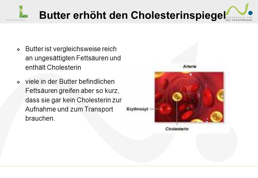 Butter ist vergleichsweise reich an ungesättigten Fettsäuren und enthält Cholesterin viele in der Butter befindlichen Fettsäuren greifen aber so kurz,