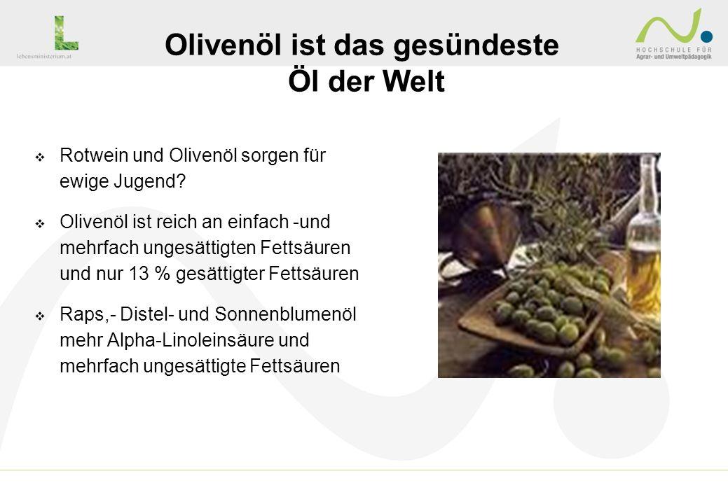 Rotwein und Olivenöl sorgen für ewige Jugend? Olivenöl ist reich an einfach -und mehrfach ungesättigten Fettsäuren und nur 13 % gesättigter Fettsäuren