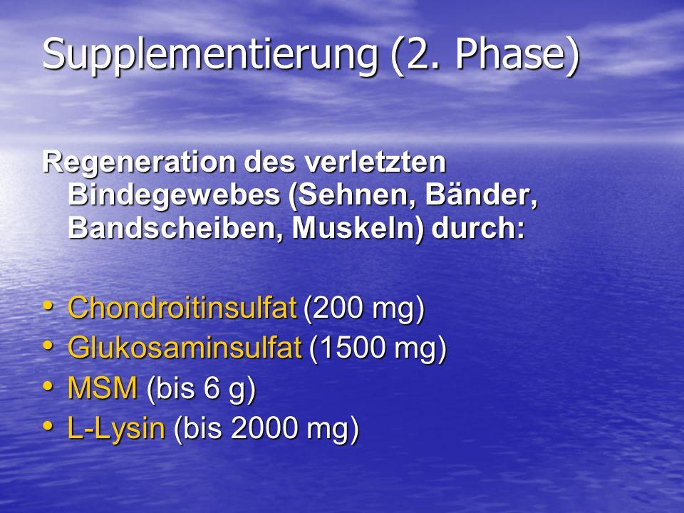Supplementierung (2. Phase) Regeneration des verletzten Bindegewebes (Sehnen, Bänder, Bandscheiben, Muskeln) durch: Chondroitinsulfat (200 mg) Chondro