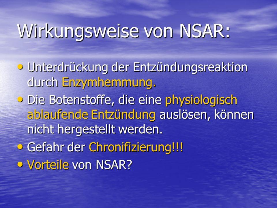 Wirkungsweise von NSAR: Unterdrückung der Entzündungsreaktion durch Enzymhemmung. Unterdrückung der Entzündungsreaktion durch Enzymhemmung. Die Botens