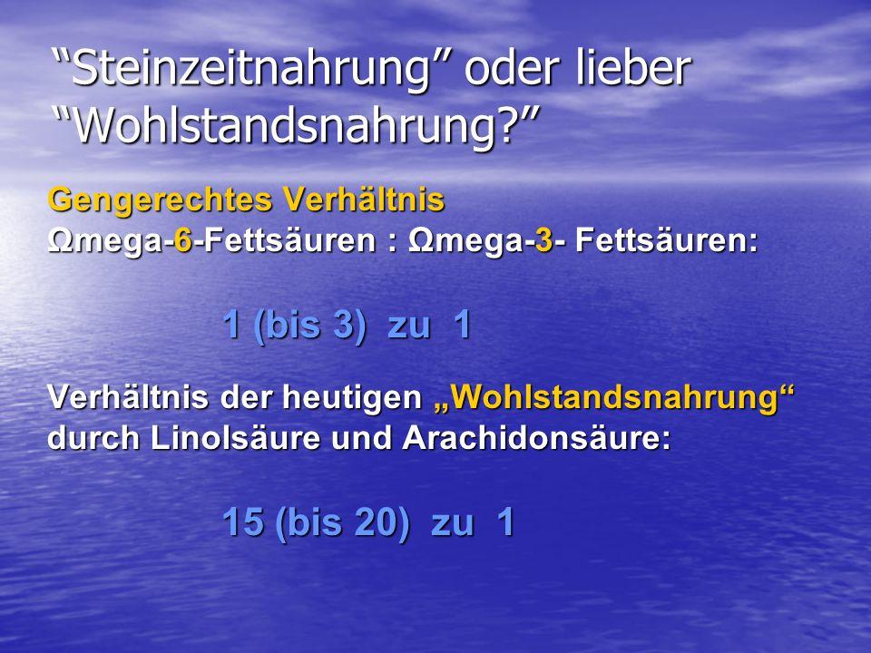 Steinzeitnahrung oder lieber Wohlstandsnahrung? Gengerechtes Verhältnis Ωmega-6-Fettsäuren : Ωmega-3- Fettsäuren: 1 (bis 3) zu 1 Verhältnis der heutig
