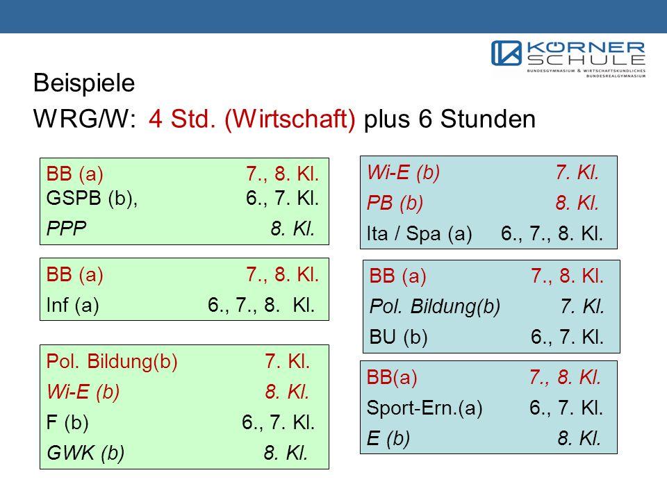 Beispiele WRG/W: 4 Std. (Wirtschaft) plus 6 Stunden BB (a)7., 8. Kl. GSPB (b), 6., 7. Kl. PPP 8. Kl. Wi-E (b) 7. Kl. PB (b) 8. Kl. Ita / Spa (a) 6., 7