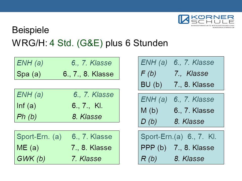 Beispiele WRG/H: 4 Std. (G&E) plus 6 Stunden ENH (a) 6., 7. Klasse Spa (a) 6., 7., 8. Klasse ENH (a) 6., 7. Klasse F (b)7., Klasse BU (b) 7., 8. Klass