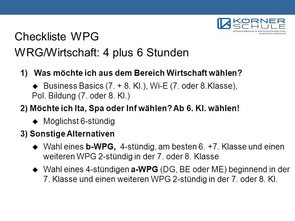 Checkliste WPG WRG/Wirtschaft: 4 plus 6 Stunden 1) Was möchte ich aus dem Bereich Wirtschaft wählen? Business Basics (7. + 8. Kl.), Wi-E (7. oder 8.Kl