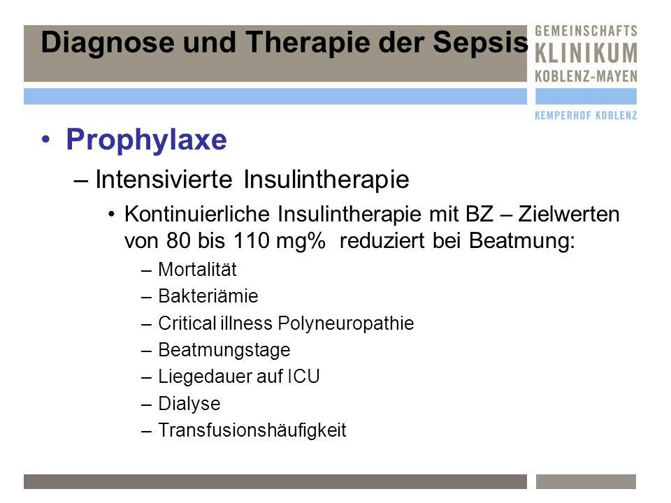 Prophylaxe –I–Intensivierte Insulintherapie Kontinuierliche Insulintherapie mit BZ – Zielwerten von 80 bis 110 mg% reduziert bei Beatmung: –M–Mortalit