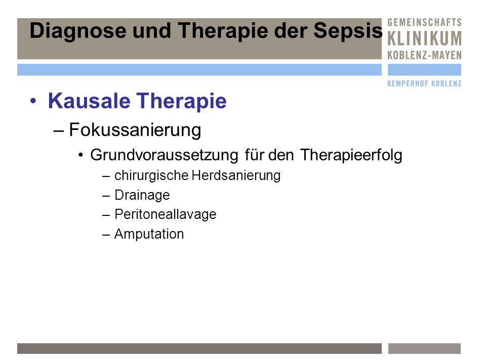 Diagnose und Therapie der Sepsis Kausale Therapie –F–Fokussanierung Grundvoraussetzung für den Therapieerfolg –c–chirurgische Herdsanierung –D–Drainag