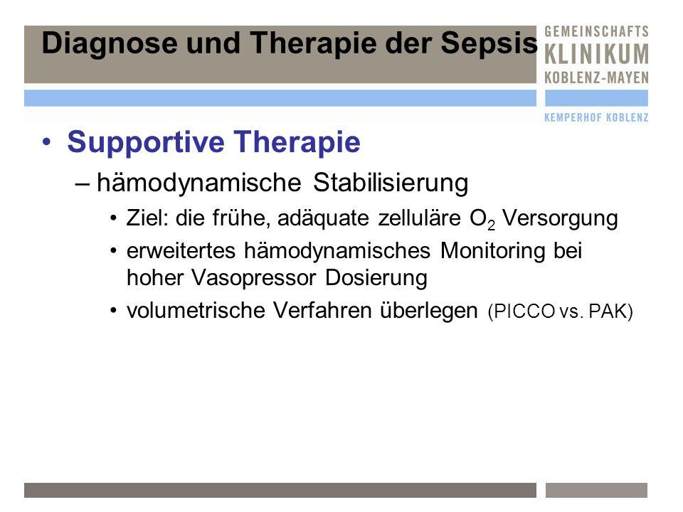 Diagnose und Therapie der Sepsis Supportive Therapie –h–hämodynamische Stabilisierung Ziel: die frühe, adäquate zelluläre O 2 Versorgung erweitertes h