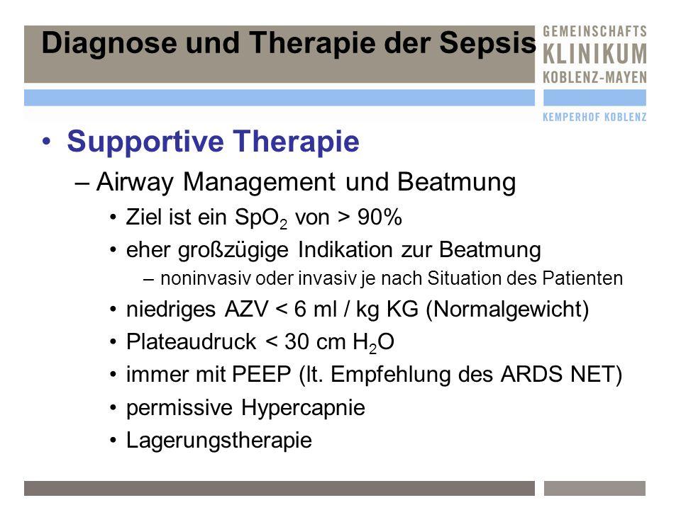 Supportive Therapie –A–Airway Management und Beatmung Ziel ist ein SpO 2 von > 90% eher großzügige Indikation zur Beatmung –n–noninvasiv oder invasiv