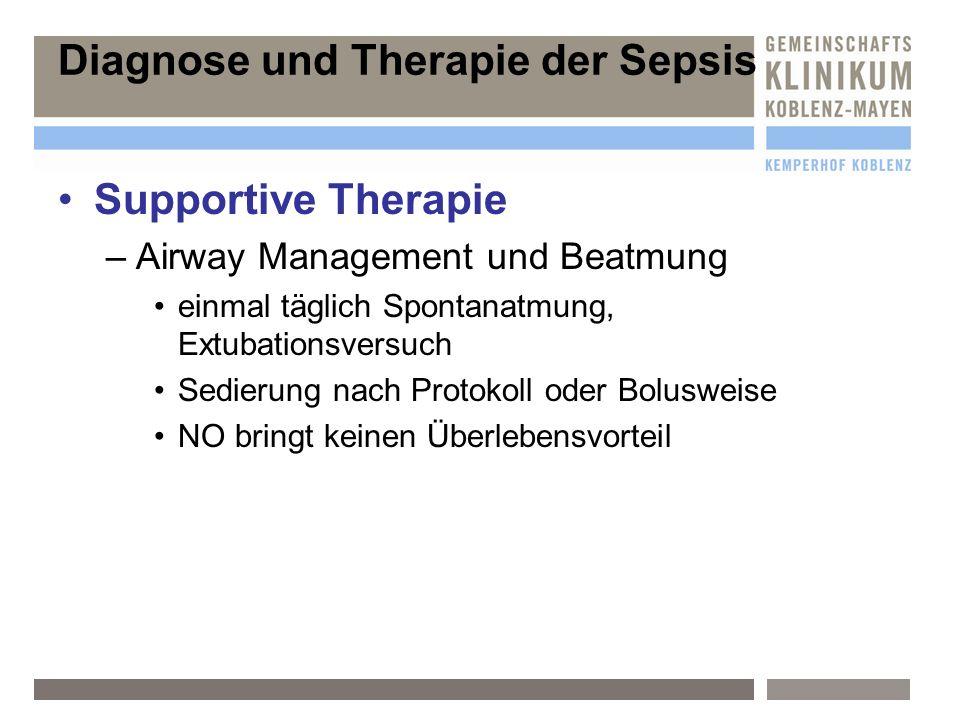 Supportive Therapie –A–Airway Management und Beatmung einmal täglich Spontanatmung, Extubationsversuch Sedierung nach Protokoll oder Bolusweise NO bri