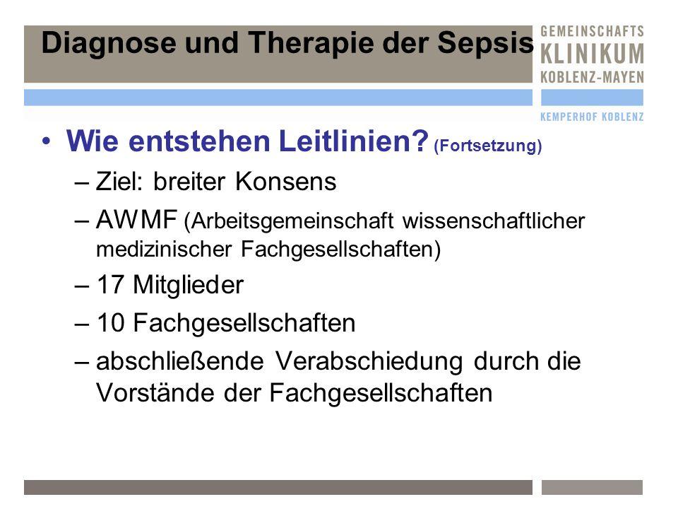 Sepsisdefinition und Diagnose Diagnose der Infektion Prophylaxe Kausale Therapie Supportive Therapie Adjunktive Therapie andere adjunktive Ansätze