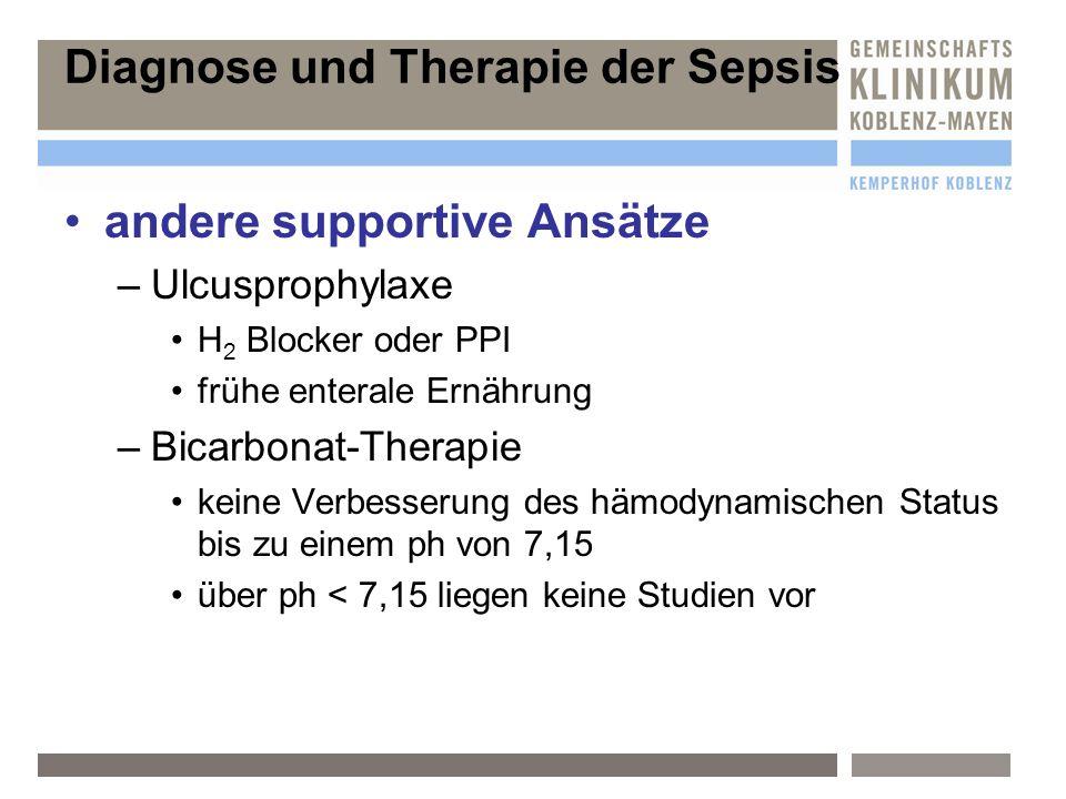 andere supportive Ansätze –U–Ulcusprophylaxe H 2 Blocker oder PPI frühe enterale Ernährung –B–Bicarbonat-Therapie keine Verbesserung des hämodynamisch