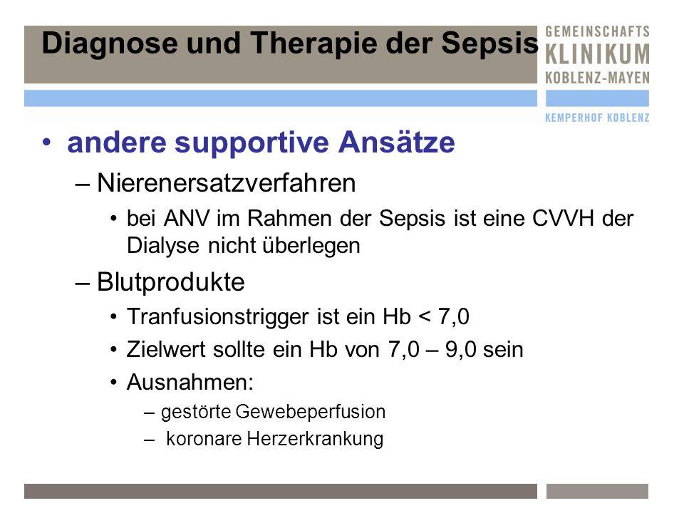 andere supportive Ansätze –N–Nierenersatzverfahren bei ANV im Rahmen der Sepsis ist eine CVVH der Dialyse nicht überlegen –B–Blutprodukte Tranfusionst