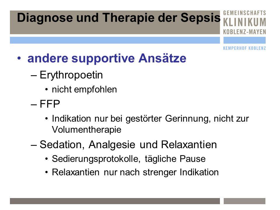 Diagnose und Therapie der Sepsis andere supportive Ansätze –E–Erythropoetin nicht empfohlen –F–FFP Indikation nur bei gestörter Gerinnung, nicht zur V