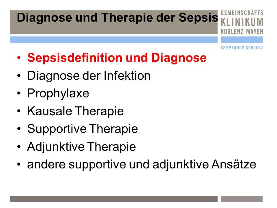 Sepsisdefinition und Diagnose Diagnose der Infektion Prophylaxe Kausale Therapie Supportive Therapie Adjunktive Therapie andere supportive und adjunktive Ansätze