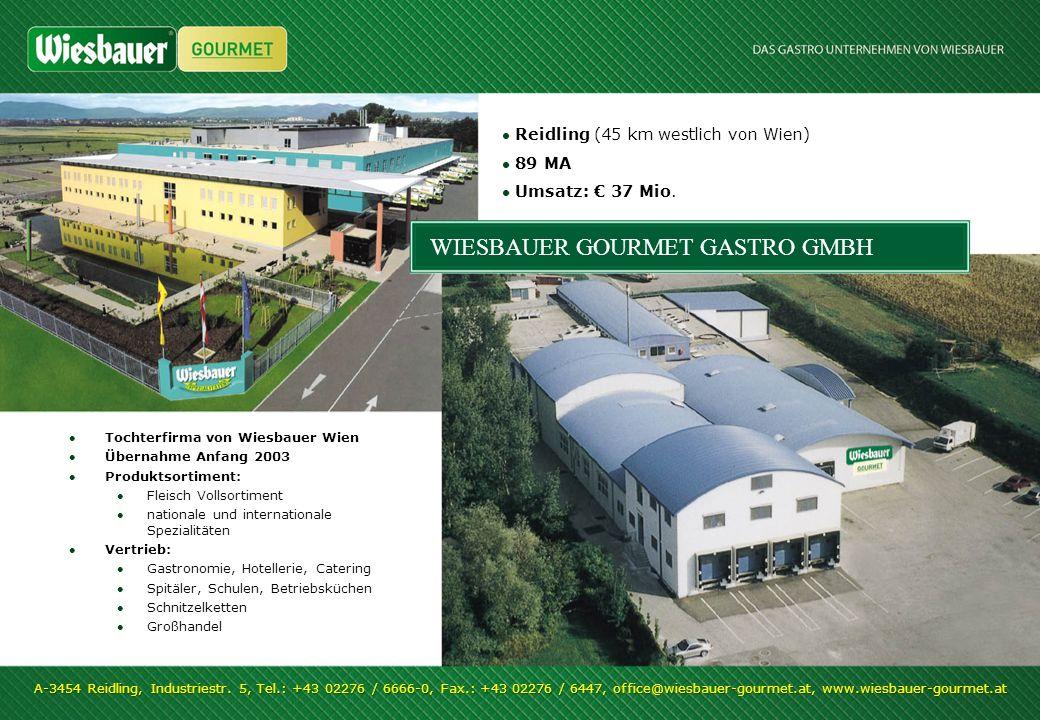 WIESBAUER GOURMET GASTRO GMBH Tochterfirma von Wiesbauer Wien Übernahme Anfang 2003 Produktsortiment: Fleisch Vollsortiment nationale und internationa