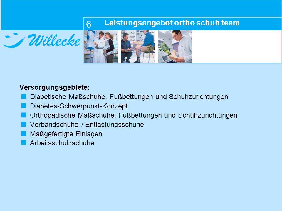 Willecke 6 Leistungsangebot ortho schuh team Versorgungsgebiete: Diabetische Maßschuhe, Fußbettungen und Schuhzurichtungen Diabetes-Schwerpunkt-Konzep