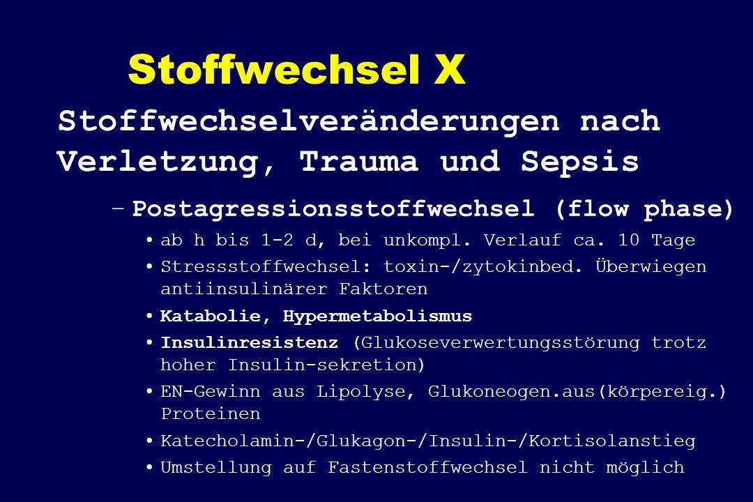 Stoffwechsel X –Postagressionsstoffwechsel (flow phase) ab h bis 1-2 d, bei unkompl. Verlauf ca. 10 Tage Stressstoffwechsel: toxin-/zytokinbed. Überwi