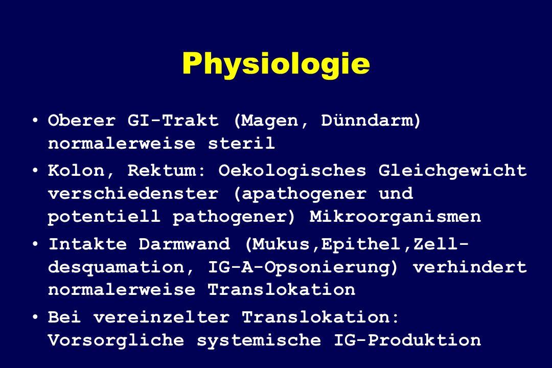 Physiologie Oberer GI-Trakt (Magen, Dünndarm) normalerweise steril Kolon, Rektum: Oekologisches Gleichgewicht verschiedenster (apathogener und potentiell pathogener) Mikroorganismen Intakte Darmwand (Mukus,Epithel,Zell- desquamation, IG-A-Opsonierung) verhindert normalerweise Translokation Bei vereinzelter Translokation: Vorsorgliche systemische IG-Produktion