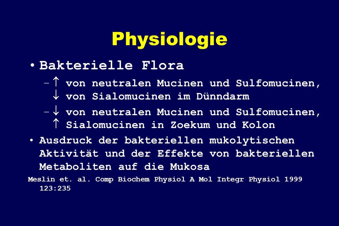 Physiologie Bakterielle Flora – von neutralen Mucinen und Sulfomucinen, von Sialomucinen im Dünndarm – von neutralen Mucinen und Sulfomucinen, Sialomu