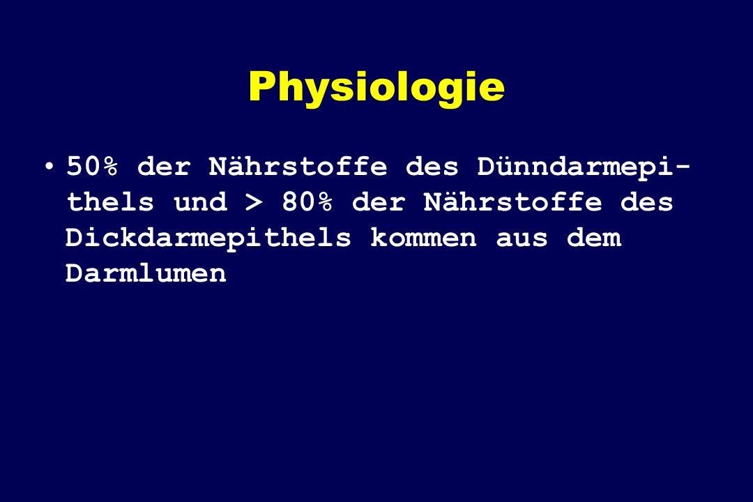Physiologie 50% der Nährstoffe des Dünndarmepi- thels und > 80% der Nährstoffe des Dickdarmepithels kommen aus dem Darmlumen