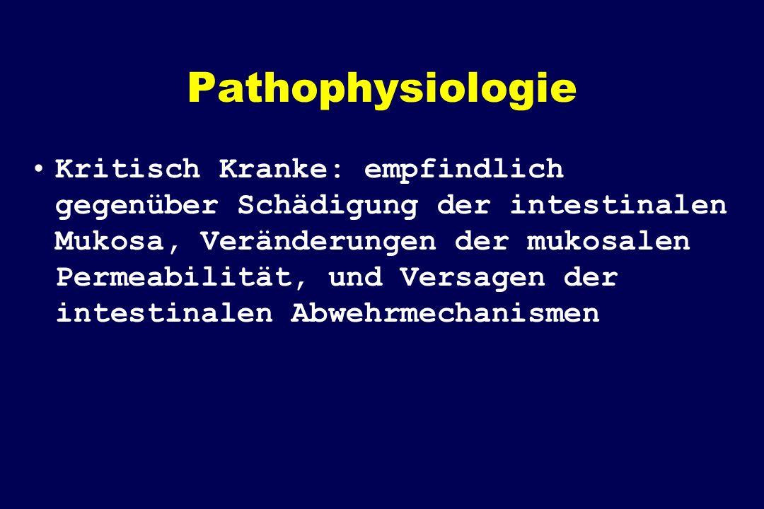 Pathophysiologie Kritisch Kranke: empfindlich gegenüber Schädigung der intestinalen Mukosa, Veränderungen der mukosalen Permeabilität, und Versagen der intestinalen Abwehrmechanismen
