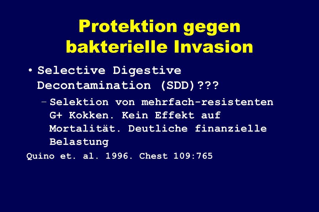 Protektion gegen bakterielle Invasion Selective Digestive Decontamination (SDD)??? –Selektion von mehrfach-resistenten G+ Kokken. Kein Effekt auf Mort
