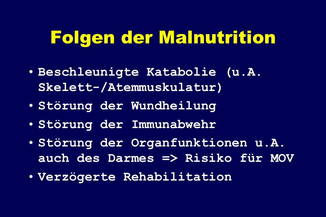 Folgen der Malnutrition Beschleunigte Katabolie (u.A. Skelett-/Atemmuskulatur) Störung der Wundheilung Störung der Immunabwehr Störung der Organfunkti