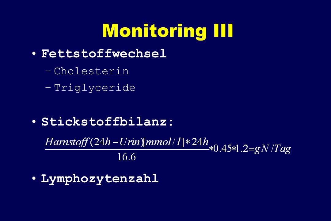 Monitoring III Fettstoffwechsel –Cholesterin –Triglyceride Stickstoffbilanz: Lymphozytenzahl