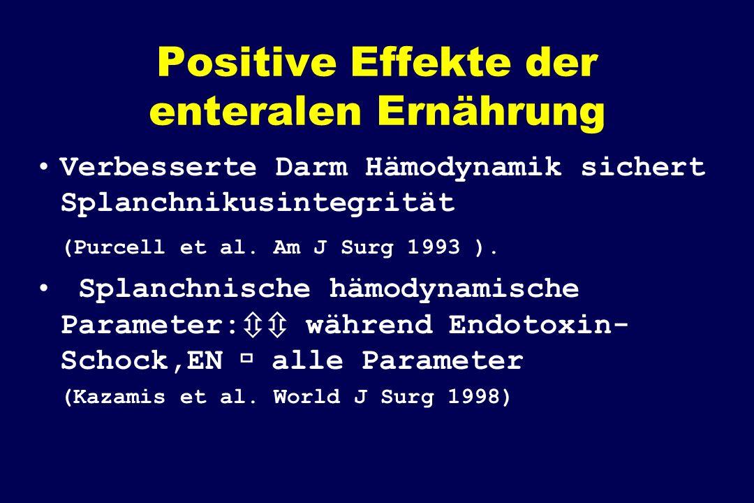Positive Effekte der enteralen Ernährung Verbesserte Darm Hämodynamik sichert Splanchnikusintegrität (Purcell et al. Am J Surg 1993 ). Splanchnische h