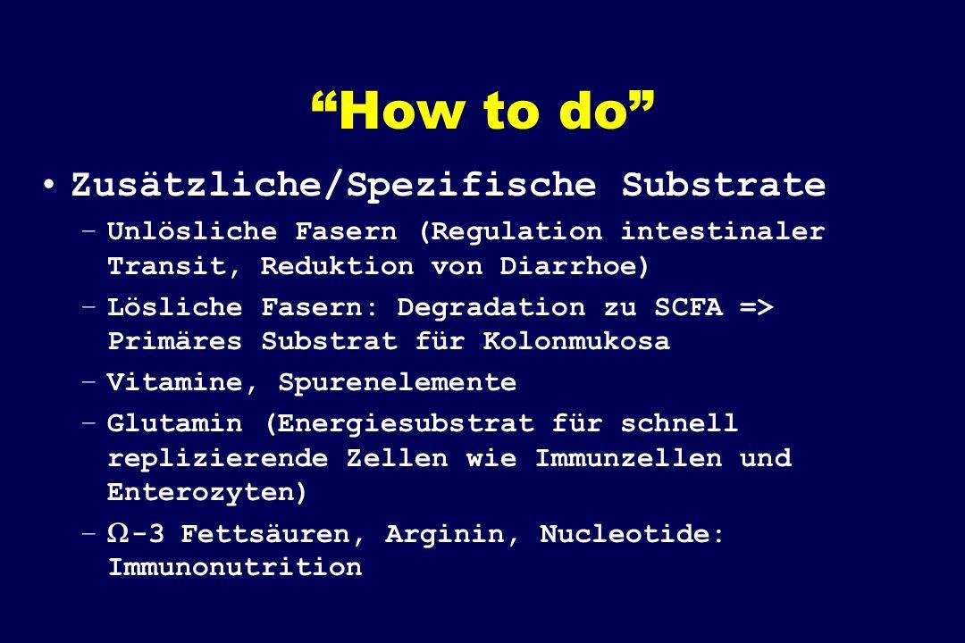 How to do Zusätzliche/Spezifische Substrate –Unlösliche Fasern (Regulation intestinaler Transit, Reduktion von Diarrhoe) –Lösliche Fasern: Degradation