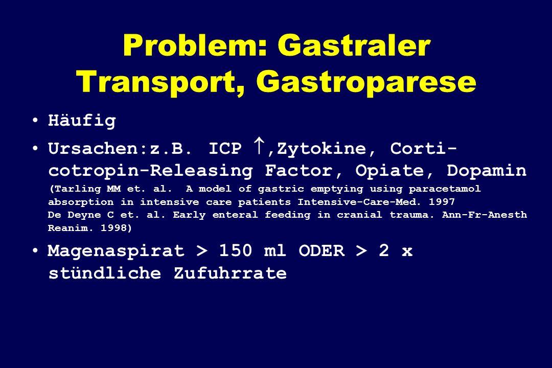 Problem: Gastraler Transport, Gastroparese Häufig Ursachen:z.B. ICP,Zytokine, Corti- cotropin-Releasing Factor, Opiate, Dopamin (Tarling MM et. al. A