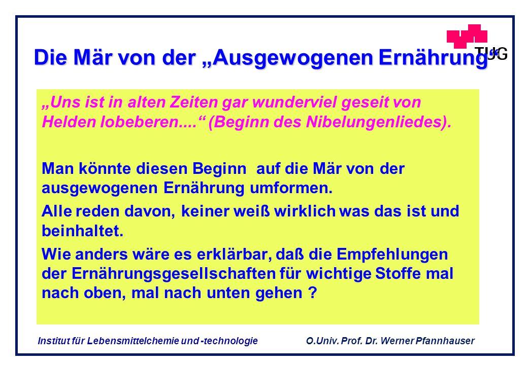 O.Univ. Prof. Dr. Werner Pfannhauser Institut für Lebensmittelchemie und -technologie Antriebe für die Entwicklung des Marktes von funktionellen Leben