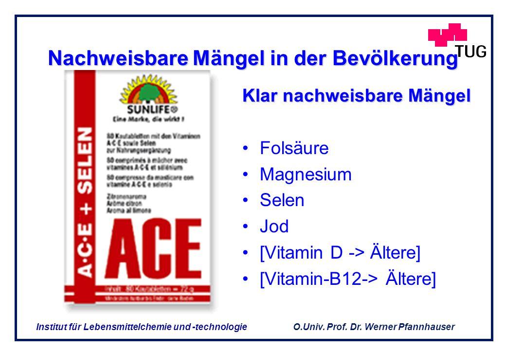 O.Univ. Prof. Dr. Werner Pfannhauser Institut für Lebensmittelchemie und -technologie DIE FRAGE IST Gibt es Mangelsituationen die eine Ergänzung recht