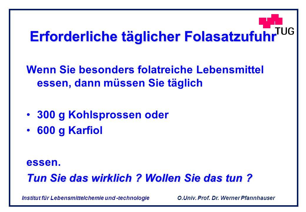 O.Univ. Prof. Dr. Werner Pfannhauser Institut für Lebensmittelchemie und -technologie