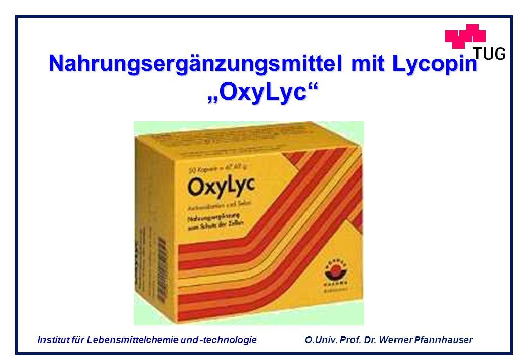O.Univ. Prof. Dr. Werner Pfannhauser Institut für Lebensmittelchemie und -technologie 1. Produkte aus primären Inhaltsstoffen Sojaextrakte Paradeisext
