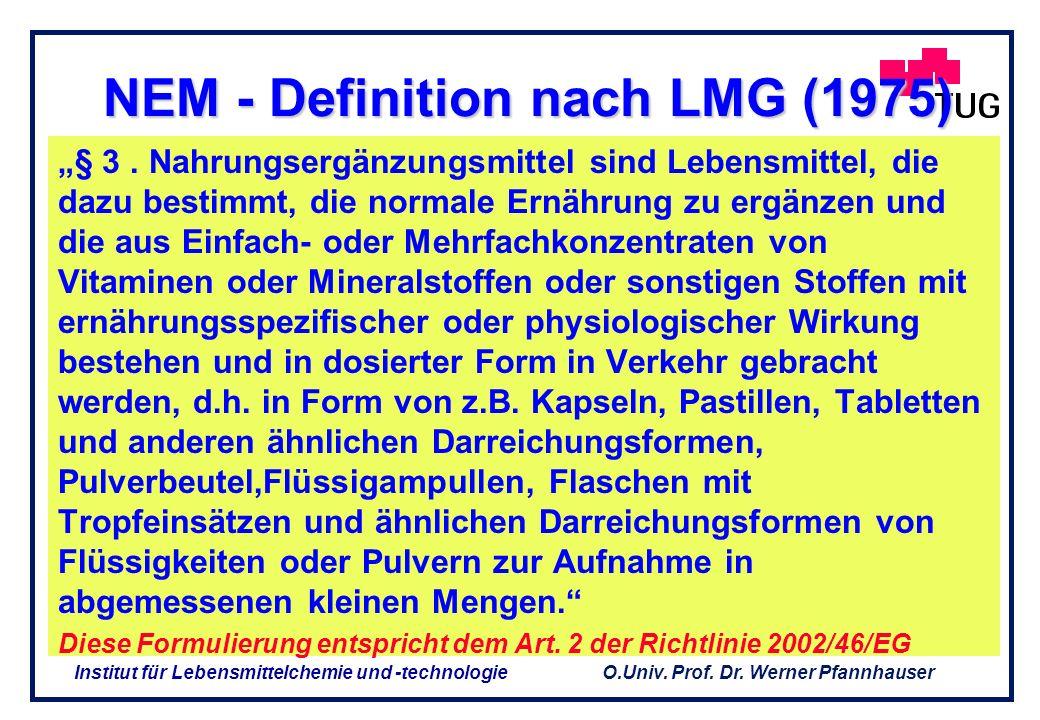 O.Univ. Prof. Dr. Werner Pfannhauser Institut für Lebensmittelchemie und -technologie Novelle des LMG (1975) Verzehrproduktes Nahrungsergänzungsmittel