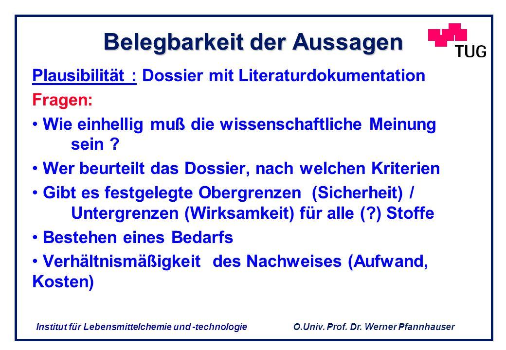 O.Univ. Prof. Dr. Werner Pfannhauser Institut für Lebensmittelchemie und -technologie ABGRENZUNGSPROBLEMATIK NEM / bilanzierte Diät / Arzneimittel NEM