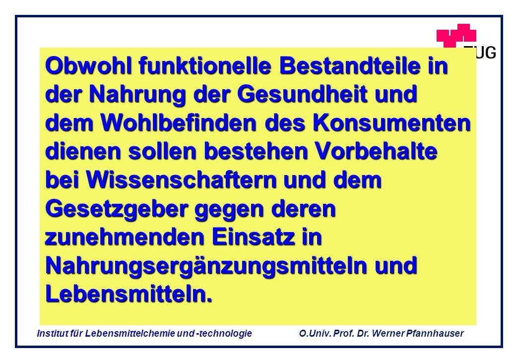 O.Univ. Prof. Dr. Werner Pfannhauser Institut für Lebensmittelchemie und -technologie Belegbarkeit der Aussagen Plausibilität : Dossier mit Literaturd