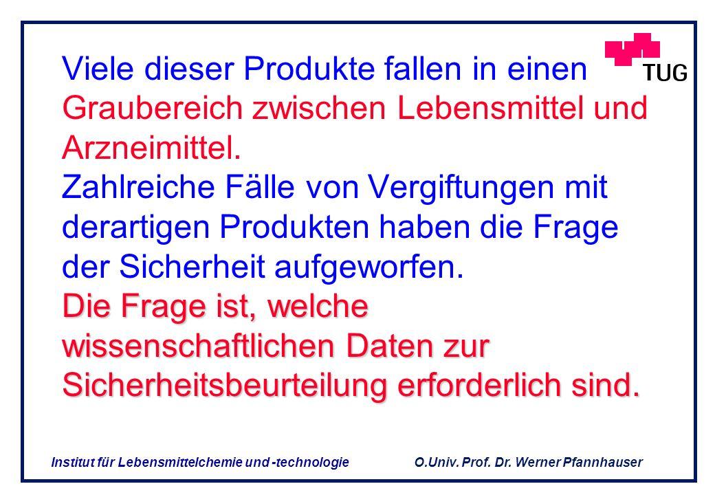 O.Univ. Prof. Dr. Werner Pfannhauser Institut für Lebensmittelchemie und -technologie Obwohl funktionelle Bestandteile in der Nahrung der Gesundheit u