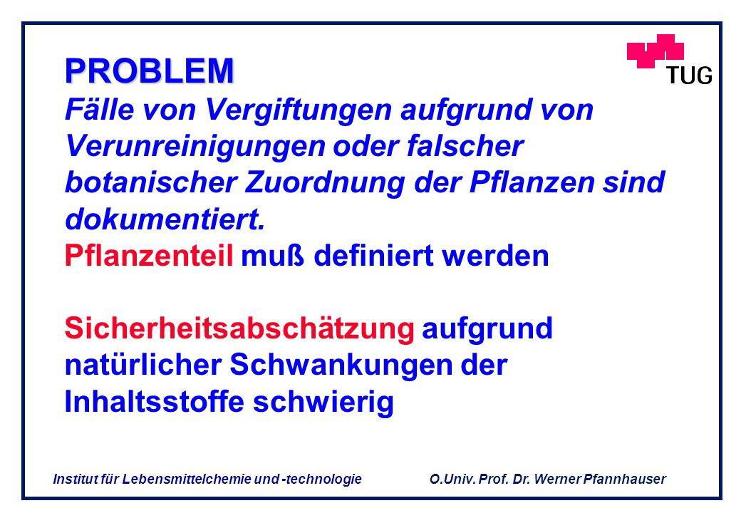O.Univ. Prof. Dr. Werner Pfannhauser Institut für Lebensmittelchemie und -technologie Die Frage ist, welche wissenschaftlichen Daten zur Sicherheitsbe