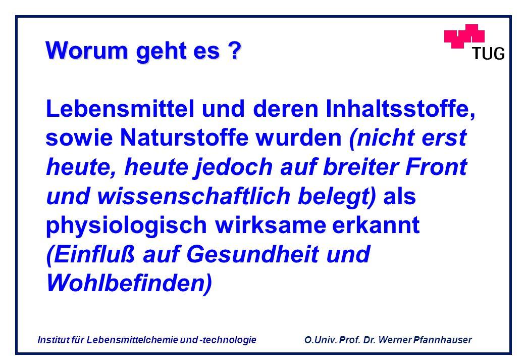 O.Univ. Prof. Dr. Werner Pfannhauser Institut für Lebensmittelchemie und -technologie BEISPIEL BEISPIEL für die enormen Unterschiede im Gehalt anhand